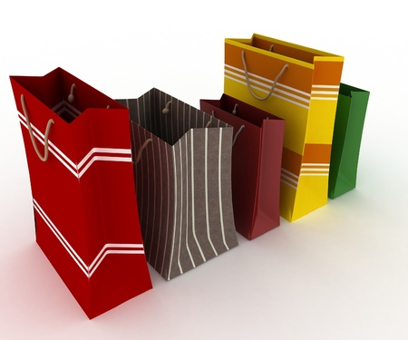 sachet: Collection for shopping from colorfull packages Stock Photo