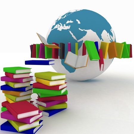 books fly into belt round the earth Stock Photo - 14133009
