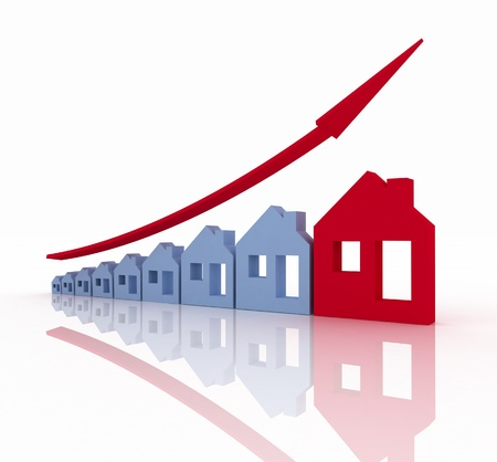 house prices: Growth in real estate shown on graph