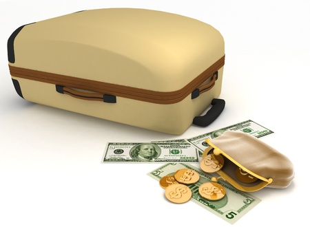 Suitcase and open purse with money on white photo