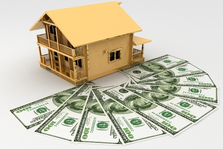 economise: house and dollars on the white background