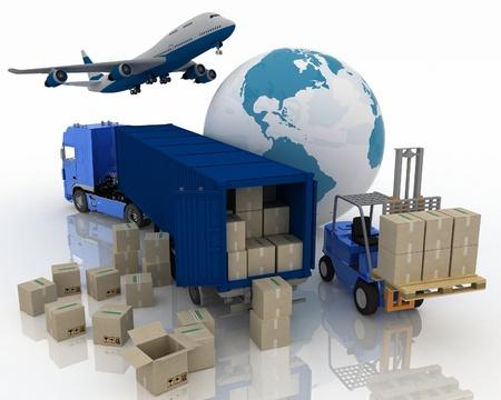 comercio: tipos de transporte para transportar cargas son Foto de archivo