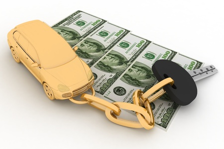 Car key and dollars on the white background photo