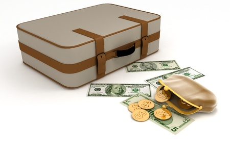Suitcase and open purse with money on white Stock Photo - 14132967
