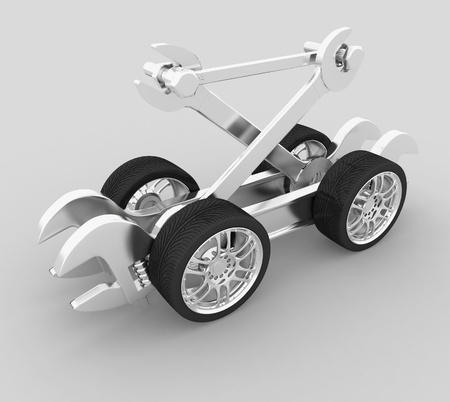 advertisement of workshop for repair of cars  3d render illustration Standard-Bild
