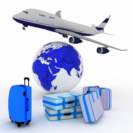airliner and suitcases with a globe in the background photo