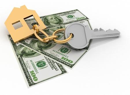 economise: house key and dollars on the white background Stock Photo