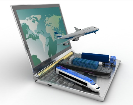 concept of logistics  delivery and transporting by all types of transport Imagens