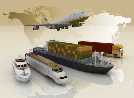 transport: Arten des Verkehrs auf einem Hintergrund Karte der Welt Lizenzfreie Bilder