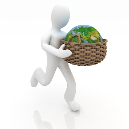 customer care: man carries a basket with a globe on  white background