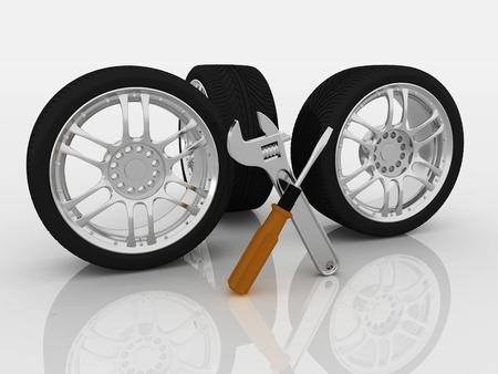 modificar: Ruedas y herramientas de servicio de coches Aislado imagen en 3D