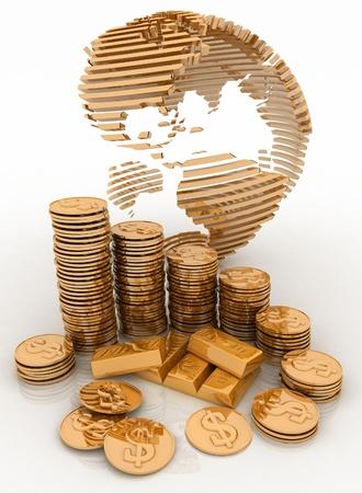 Gouden bol met vele gouden munten en bullions
