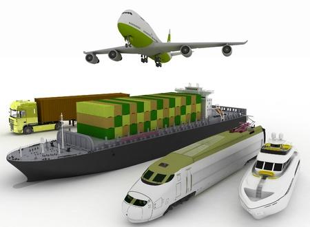 白い背景の上の輸送のタイプ