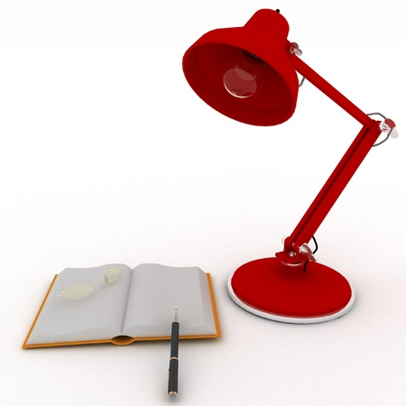 scientific literature: books with a lamp and glasses on white background