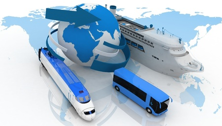 marine liner, bus and train on a background map of the world  types of transport for a cruise photo