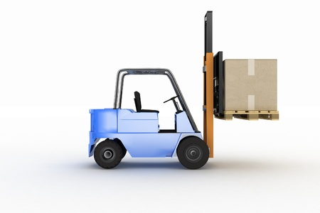 Loader in projections with cargo on a white background photo