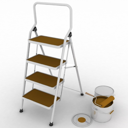 stepladder with jars from under a blue paint on a white background photo