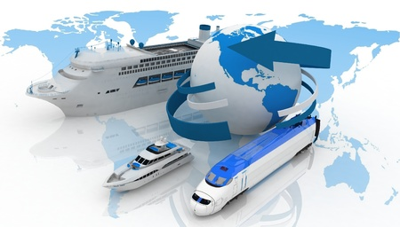 marine liner, yacht and train on a background map of the world  types of transport for a cruise photo