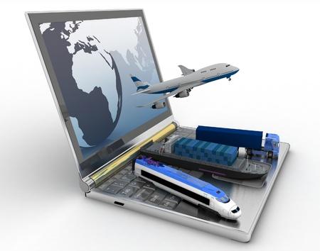 doprava: Koncepce logistiky dodávky a přepravu u všech druhů dopravy Reklamní fotografie
