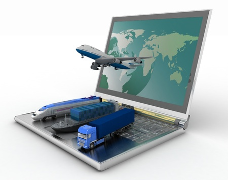 concept of logistics  delivery and transporting by all types of transport Stock Photo