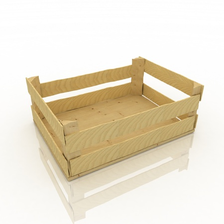 Empty wooden box. Container for fruits and vegetables. photo