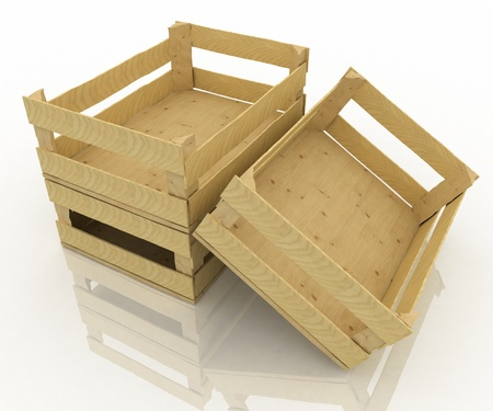 Empty wooden boxes. Containers for fruits and vegetables. photo