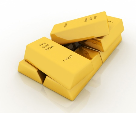 treasury: 3d gold bars isolated on white background