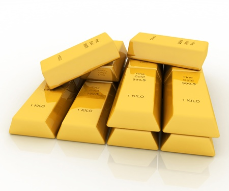 3d gold bars isolated on white background photo