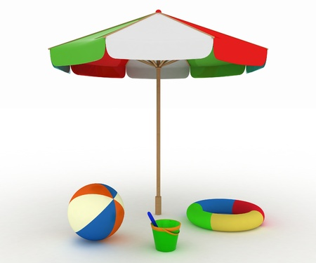 child's toys for a beach under an umbrella photo