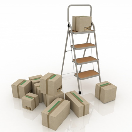 cardboard  boxes and ladder  on white background photo