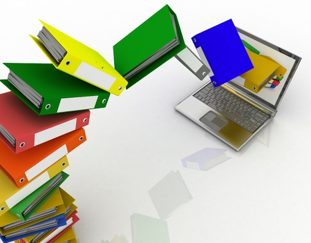 pile of documents: Colorful folders fly into your laptop Stock Photo