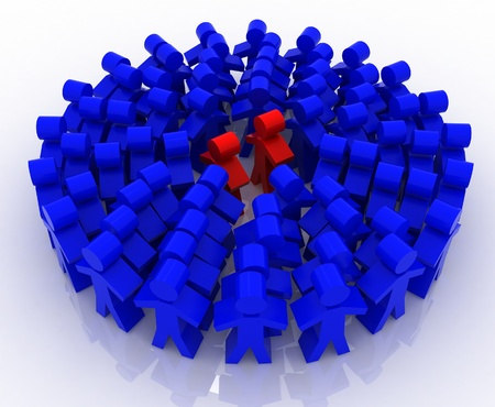 3d people in circle Stock Photo