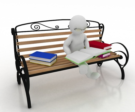 man spectacled sits on a bench and reads a book. 3d illustration on a white background. illustration