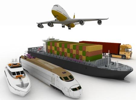 types of transport on white background photo