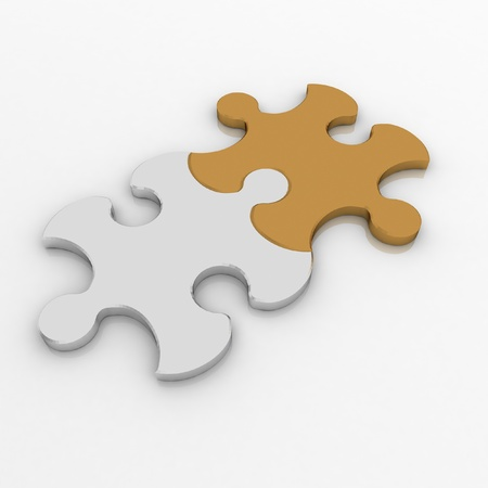 3 d 図 2 パズル。チームワークの概念。