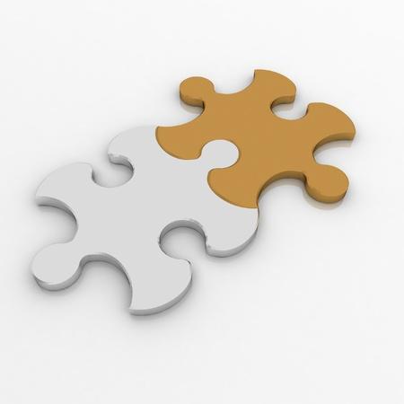 3D-afbeelding twee puzzel. Teamwork concept.