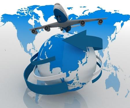 3 d ジェット旅客機、世界を旅します。 写真素材