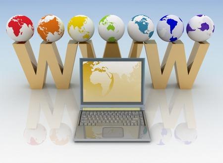 Internet concept. 3d teruggegeven illustratie. Stockfoto