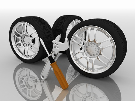 vulcanize: Wheels and Tools. Car service. Isolated 3D image