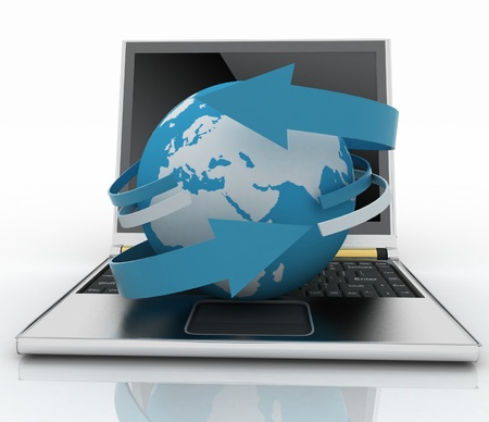 Laptop with earth and arrow. Internet concept Stock Photo - 14316299
