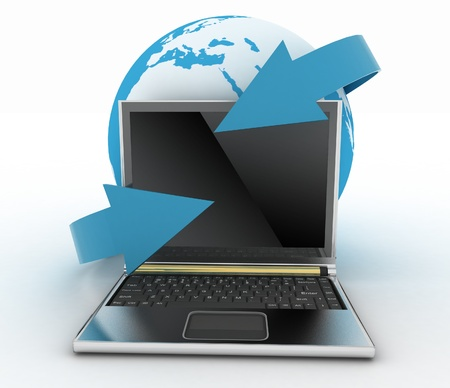 Laptop with earth and arrow. Internet concept Stock Photo - 14316293