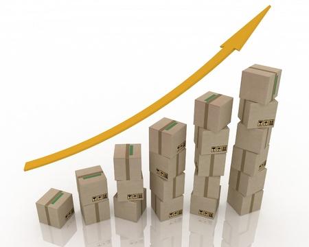 Diagram of increasing exportation. 3d rendered illustration. illustration