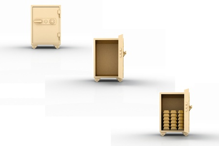 hinges: three icons of safe with gold ingots isolated on white  3D render