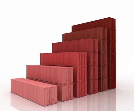 Diagram of increasing exportation  3d rendered illustration  illustration