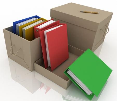 office folders in cardboard box on white background photo