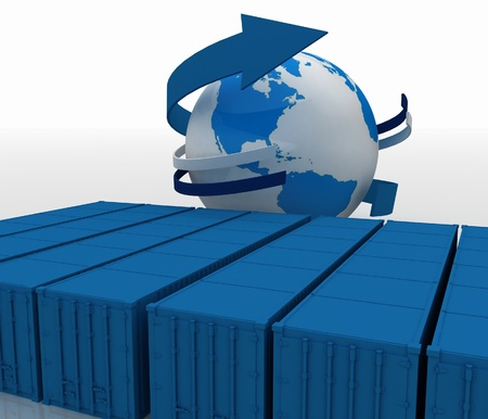 containers with globe on white background