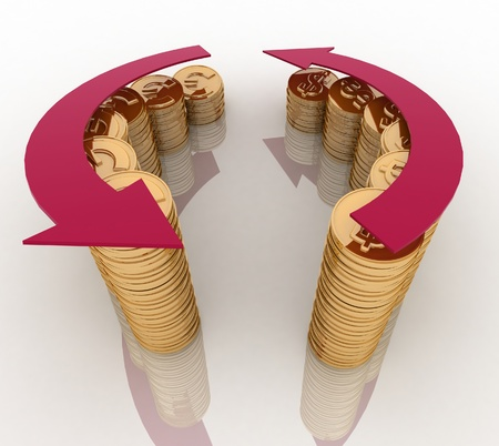 3d diagram of golden coins with a arrow on a white background photo