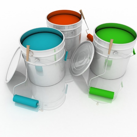 open buckets with a paint and rollers Stock Photo - 14343964