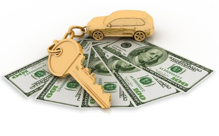economise: trinket for the keys to the car and dollars on the white background