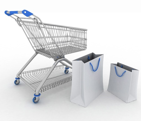 3d render shopping cart and shopping bags photo